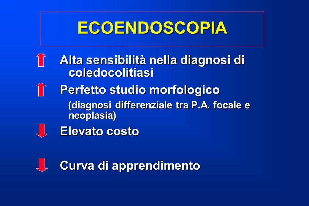 ECOENDOSCOPIA Alta sensibilità nella diagnosi di coledocolitiasi Perfetto studio morfologico (diagnosi differenziale tra P.A. focale e neoplasia) (dia