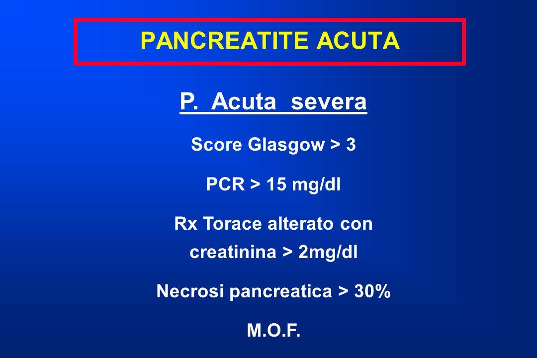 P. Acuta severa Score Glasgow > 3 PCR > 15 mg/dl Rx Torace alterato con creatinina > 2mg/dl Necrosi pancreatica > 30% M.O.F.