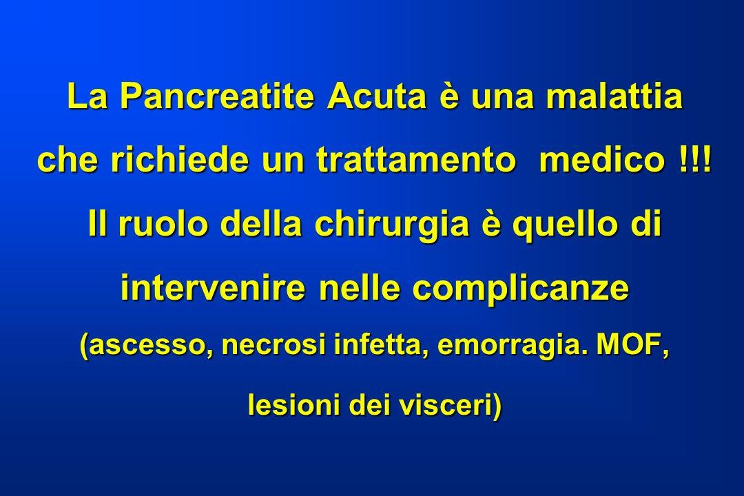 La Pancreatite Acuta è una malattia che richiede un trattamento medico !!! Il ruolo della chirurgia è quello di intervenire nelle complicanze (ascesso