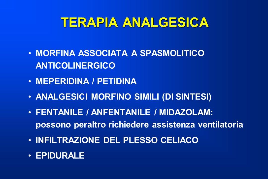 TERAPIA ANALGESICA MORFINA ASSOCIATA A SPASMOLITICO ANTICOLINERGICO MEPERIDINA / PETIDINA ANALGESICI MORFINO SIMILI (DI SINTESI) FENTANILE / ANFENTANI