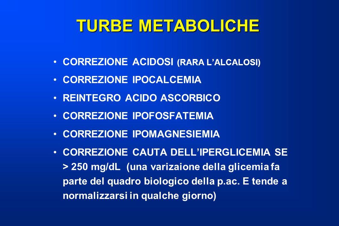 TURBE METABOLICHE CORREZIONE ACIDOSI (RARA LALCALOSI) CORREZIONE IPOCALCEMIA REINTEGRO ACIDO ASCORBICO CORREZIONE IPOFOSFATEMIA CORREZIONE IPOMAGNESIE