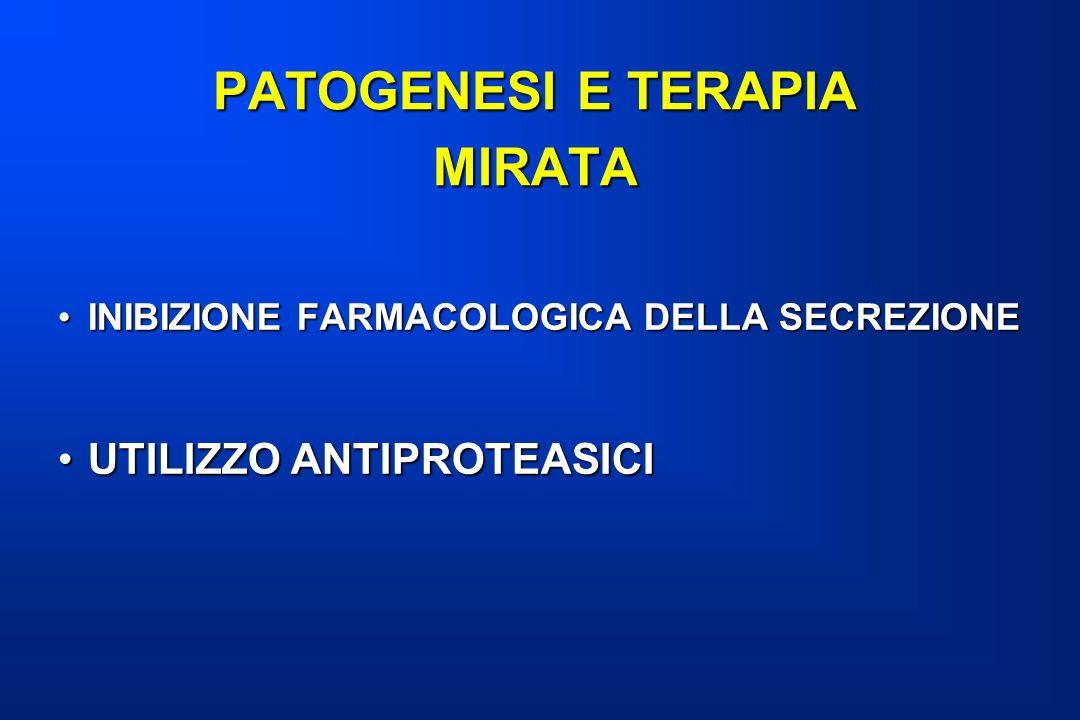 PATOGENESI E TERAPIA MIRATA INIBIZIONE FARMACOLOGICA DELLA SECREZIONEINIBIZIONE FARMACOLOGICA DELLA SECREZIONE UTILIZZO ANTIPROTEASICIUTILIZZO ANTIPRO