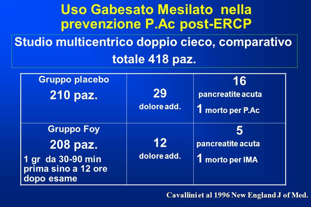 Uso Gabesato Mesilato nella prevenzione P.Ac post-ERCP Gruppo placebo 210 paz. 29 dolore add. 16 pancreatite acuta 1 morto per P.Ac Gruppo Foy 208 paz
