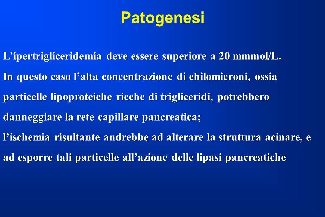 Patogenesi Lipertrigliceridemia deve essere superiore a 20 mmmol/L. In questo caso lalta concentrazione di chilomicroni, ossia particelle lipoproteich
