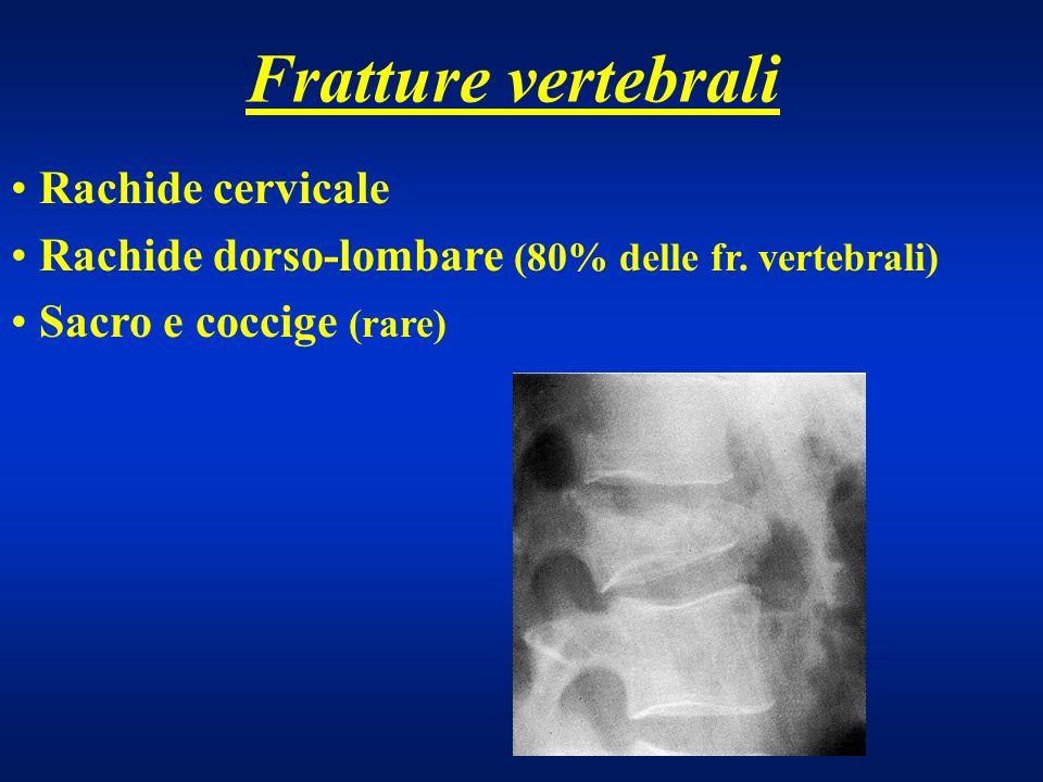 Fratture vertebrali Prevalentemente da frattura di 2 delle 3 colonne Instabilità rachide dorsale e lombare Segni radiografici: Angolazione dei corpi vertebrali adiacenti superiore a 12° Dislocazione corpo vertebrale superiore a 2,5 mm.