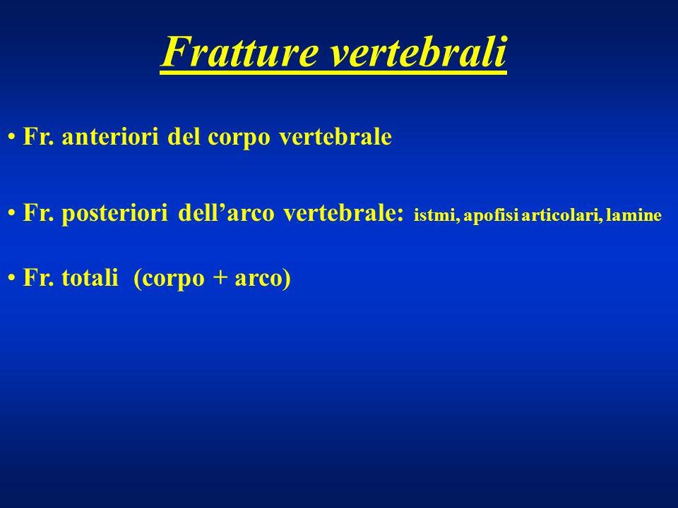 Fratture vertebrali Fr. anteriori del corpo vertebrale Fr. posteriori dellarco vertebrale: istmi, apofisi articolari, lamine Fr. totali (corpo + arco)