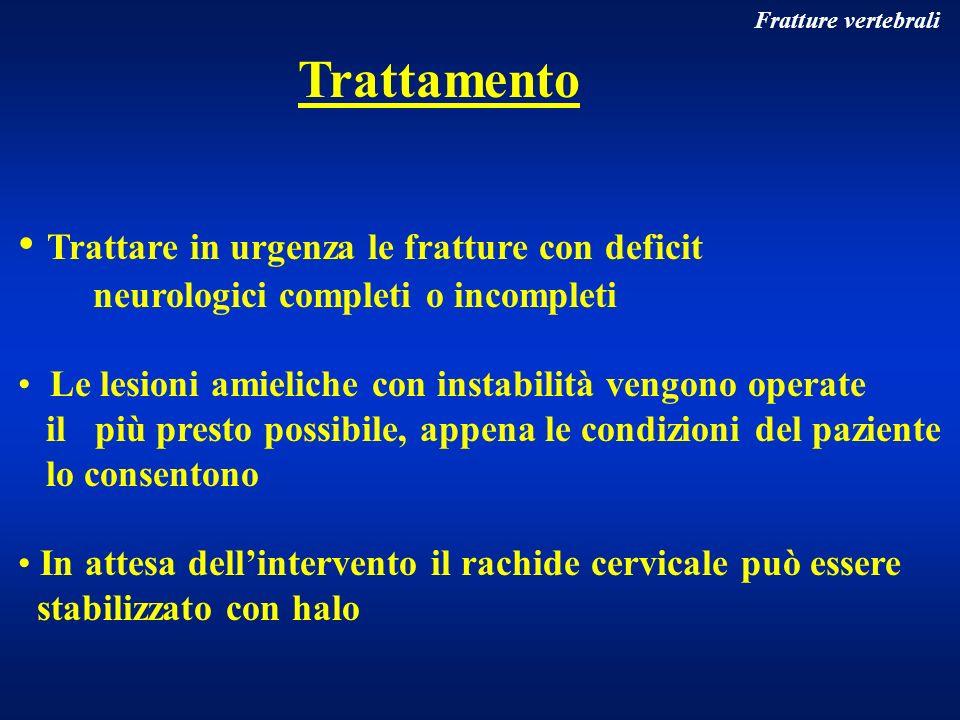 Fratture vertebrali Trattamento Trattare in urgenza le fratture con deficit neurologici completi o incompleti Le lesioni amieliche con instabilità ven