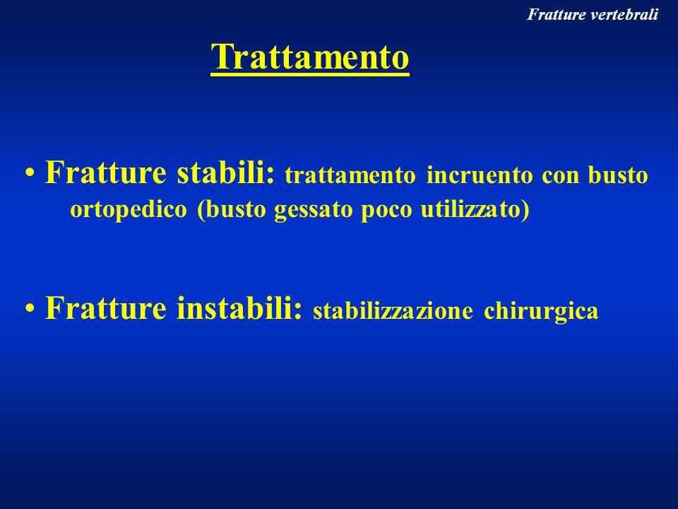 Fratture vertebrali Trattamento Fratture stabili: trattamento incruento con busto ortopedico (busto gessato poco utilizzato) Fratture instabili: stabi