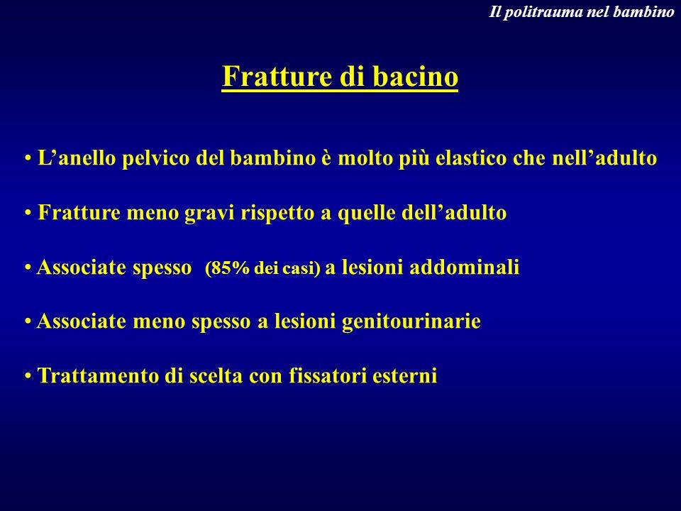 Fratture di bacino Il politrauma nel bambino Lanello pelvico del bambino è molto più elastico che nelladulto Fratture meno gravi rispetto a quelle del