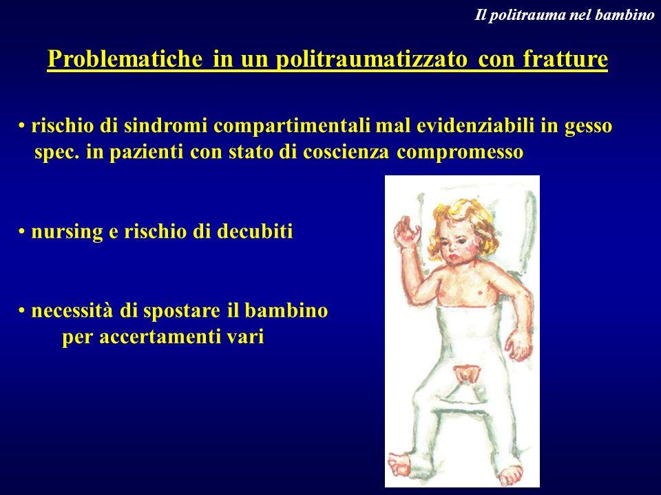 Problematiche in un politraumatizzato con fratture Il politrauma nel bambino rischio di sindromi compartimentali mal evidenziabili in gesso spec. in p