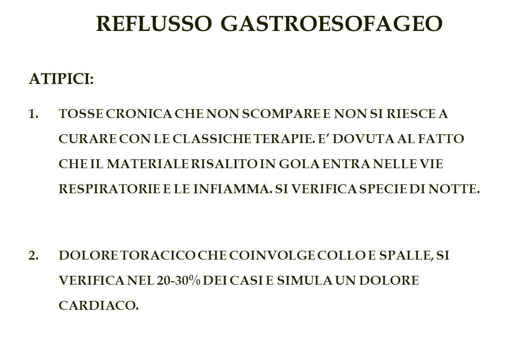 REFLUSSO GASTROESOFAGEO ATIPICI: 1.TOSSE CRONICA CHE NON SCOMPARE E NON SI RIESCE A CURARE CON LE CLASSICHE TERAPIE.
