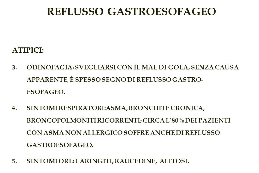 REFLUSSO GASTROESOFAGEO ATIPICI: 3.ODINOFAGIA: SVEGLIARSI CON IL MAL DI GOLA, SENZA CAUSA APPARENTE, È SPESSO SEGNO DI REFLUSSO GASTRO- ESOFAGEO.