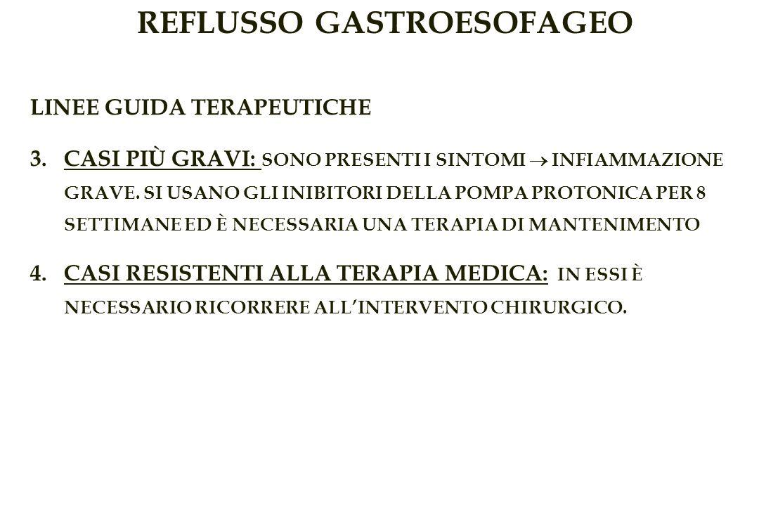 REFLUSSO GASTROESOFAGEO LINEE GUIDA TERAPEUTICHE 3.CASI PIÙ GRAVI: SONO PRESENTI I SINTOMI INFIAMMAZIONE GRAVE.