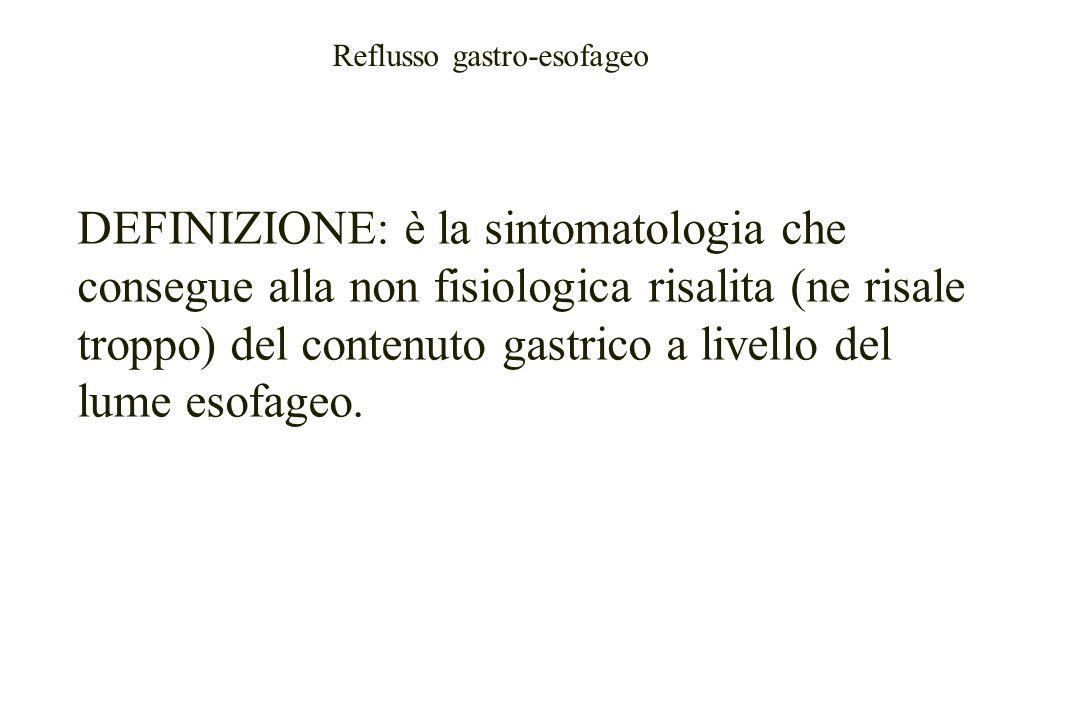 DEFINIZIONE: è la sintomatologia che consegue alla non fisiologica risalita (ne risale troppo) del contenuto gastrico a livello del lume esofageo.