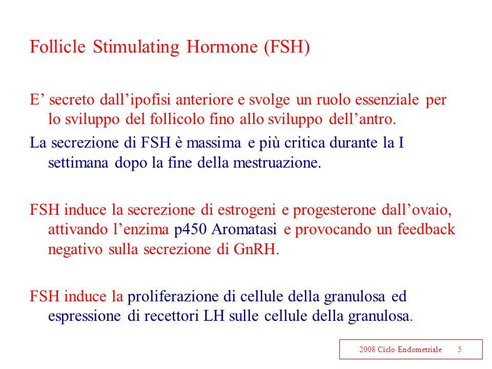 2008 Ciclo Endometriale5 Follicle Stimulating Hormone (FSH) E secreto dallipofisi anteriore e svolge un ruolo essenziale per lo sviluppo del follicolo