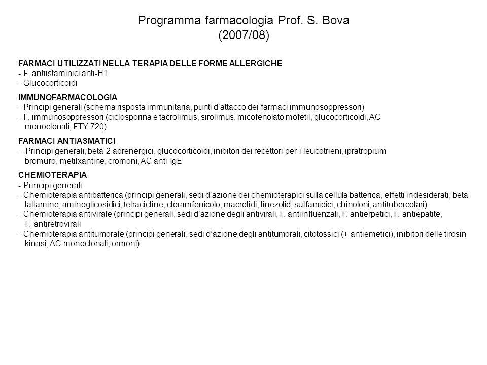 Programma farmacologia Prof. S. Bova (2007/08) FARMACI UTILIZZATI NELLA TERAPIA DELLE FORME ALLERGICHE - F. antiistaminici anti-H1 - Glucocorticoidi I