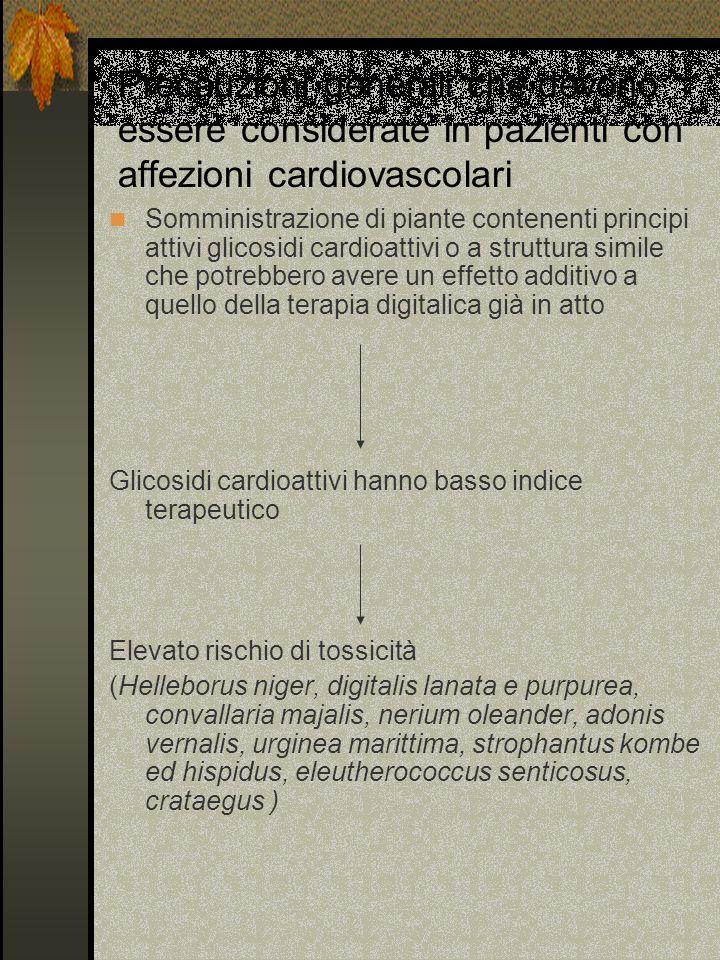 Precauzioni generali che devono essere considerate in pazienti con affezioni cardiovascolari Somministrazione di piante contenenti principi attivi gli