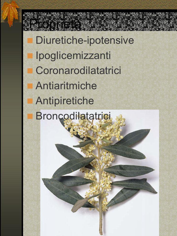Proprietà Diuretiche-ipotensive Ipoglicemizzanti Coronarodilatatrici Antiaritmiche Antipiretiche Broncodilatatrici