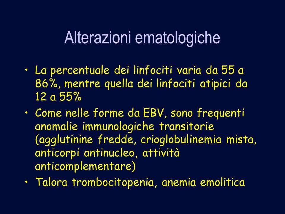 Alterazioni ematologiche La percentuale dei linfociti varia da 55 a 86%, mentre quella dei linfociti atipici da 12 a 55% Come nelle forme da EBV, sono frequenti anomalie immunologiche transitorie (agglutinine fredde, crioglobulinemia mista, anticorpi antinucleo, attività anticomplementare) Talora trombocitopenia, anemia emolitica