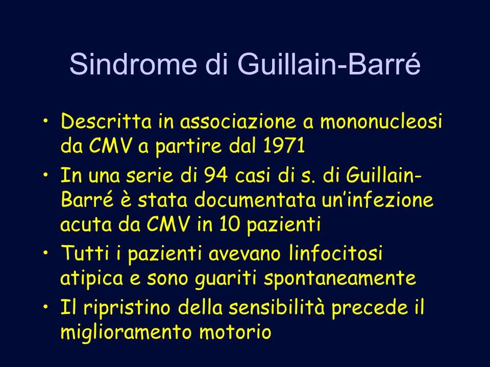 Sindrome di Guillain-Barré Descritta in associazione a mononucleosi da CMV a partire dal 1971 In una serie di 94 casi di s.