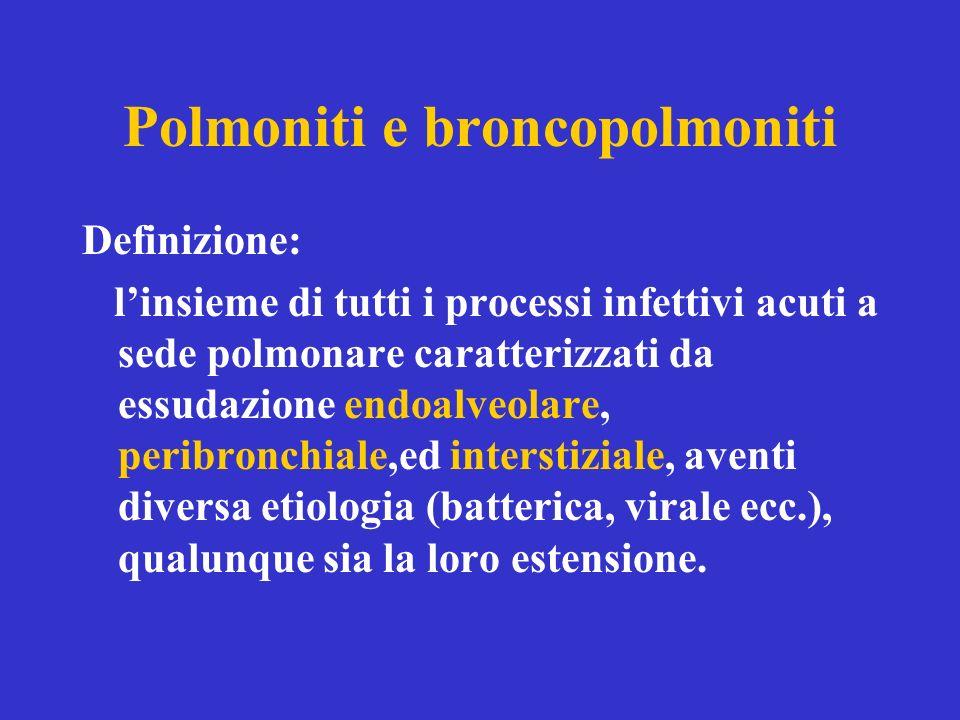 Polmoniti e broncopolmoniti Definizione: linsieme di tutti i processi infettivi acuti a sede polmonare caratterizzati da essudazione endoalveolare, peribronchiale,ed interstiziale, aventi diversa etiologia (batterica, virale ecc.), qualunque sia la loro estensione.
