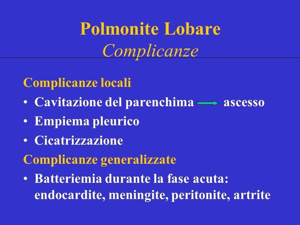 Complicanze locali Cavitazione del parenchima ascesso Empiema pleurico Cicatrizzazione Complicanze generalizzate Batteriemia durante la fase acuta: endocardite, meningite, peritonite, artrite Polmonite Lobare Complicanze