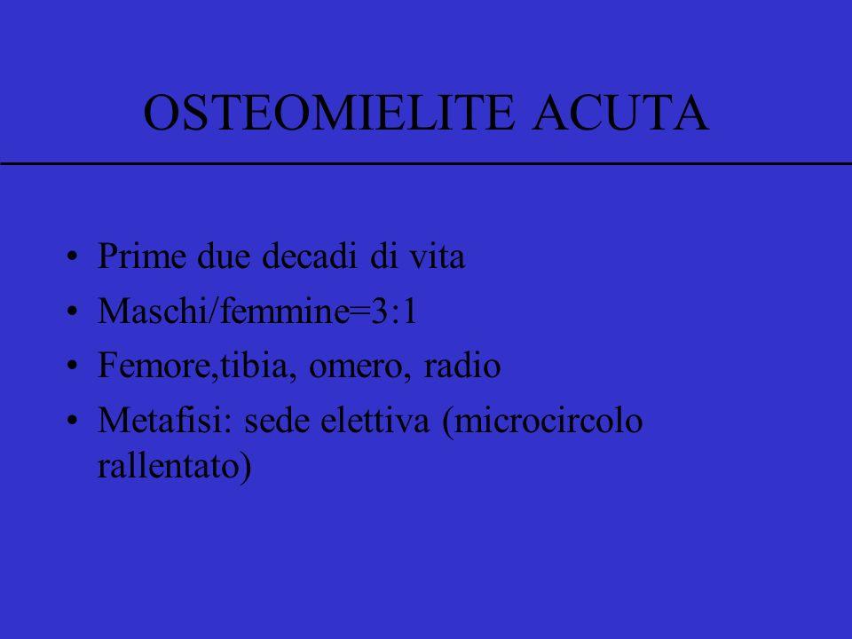 Prime due decadi di vita Maschi/femmine=3:1 Femore,tibia, omero, radio Metafisi: sede elettiva (microcircolo rallentato) OSTEOMIELITE ACUTA