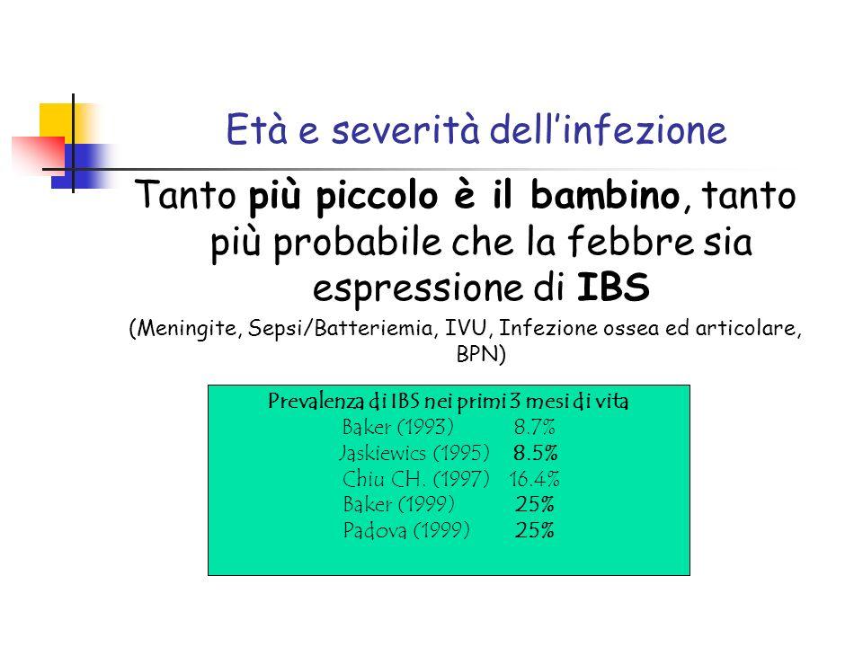 Età e severità dellinfezione Tanto più piccolo è il bambino, tanto più probabile che la febbre sia espressione di IBS (Meningite, Sepsi/Batteriemia, I