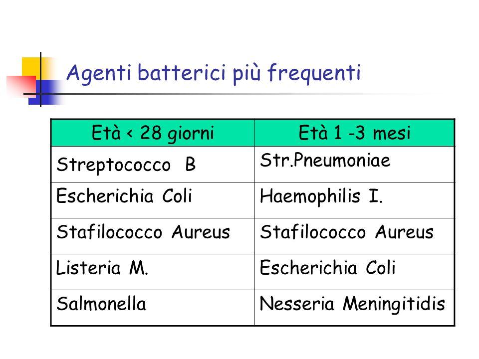 Agenti batterici più frequenti Età < 28 giorniEtà 1 -3 mesi Streptococco B Str.Pneumoniae Escherichia ColiHaemophilis I. Stafilococco Aureus Listeria