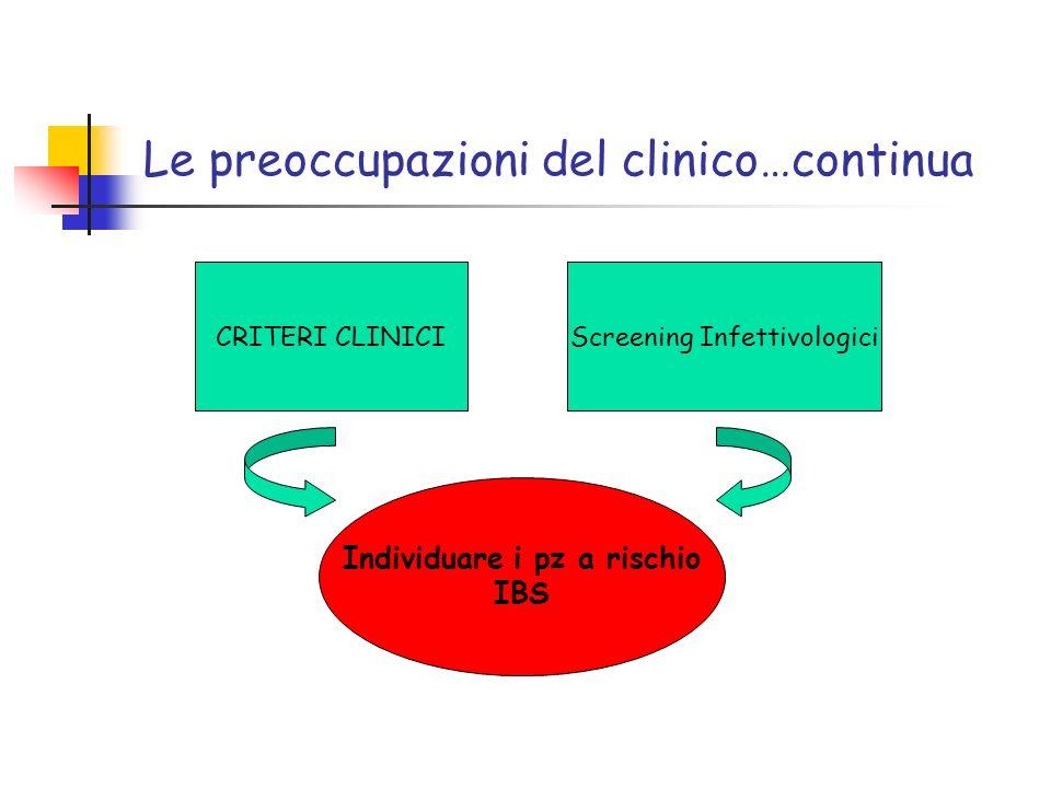 Le preoccupazioni del clinico…continua CRITERI CLINICIScreening Infettivologici Individuare i pz a rischio IBS