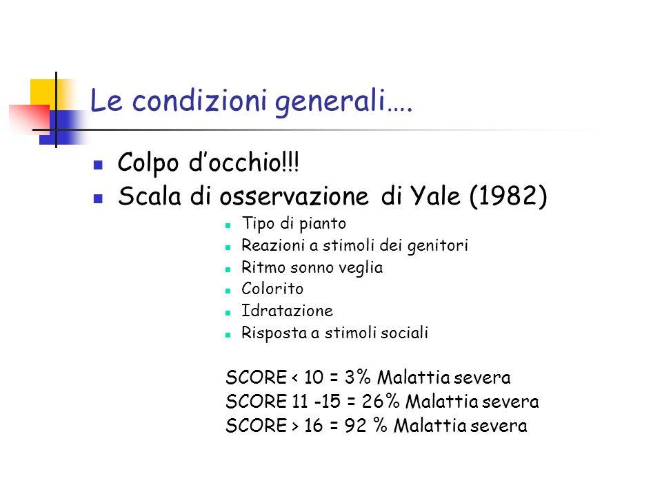 Le condizioni generali…. Colpo docchio!!! Scala di osservazione di Yale (1982) Tipo di pianto Reazioni a stimoli dei genitori Ritmo sonno veglia Color