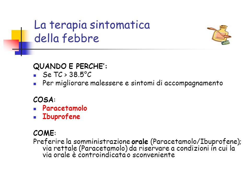 La terapia sintomatica della febbre QUANDO E PERCHE: Se TC > 38.5°C Per migliorare malessere e sintomi di accompagnamento COSA: Paracetamolo Ibuprofen