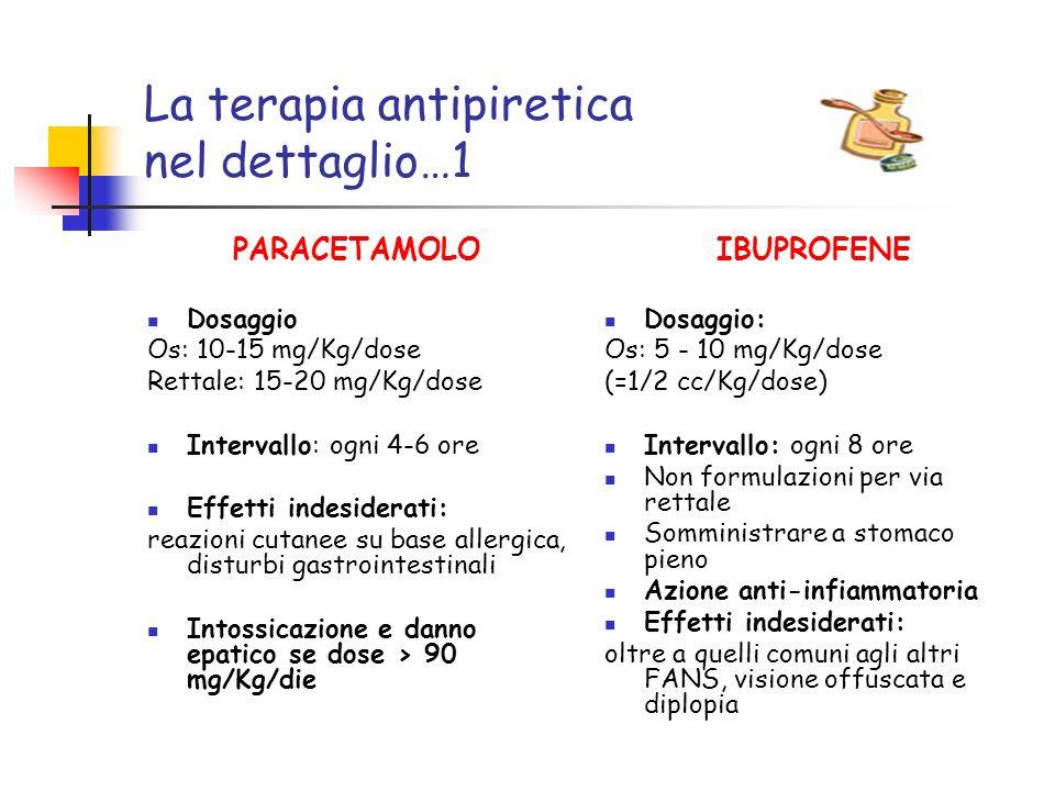 La terapia antipiretica nel dettaglio…1 PARACETAMOLO Dosaggio Os: 10-15 mg/Kg/dose Rettale: 15-20 mg/Kg/dose Intervallo: ogni 4-6 ore Effetti indeside