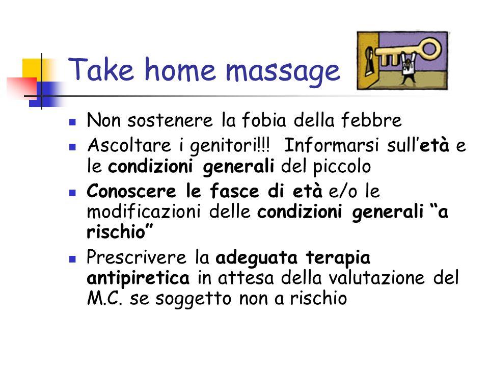 Take home massage Non sostenere la fobia della febbre Ascoltare i genitori!!! Informarsi sulletà e le condizioni generali del piccolo Conoscere le fas