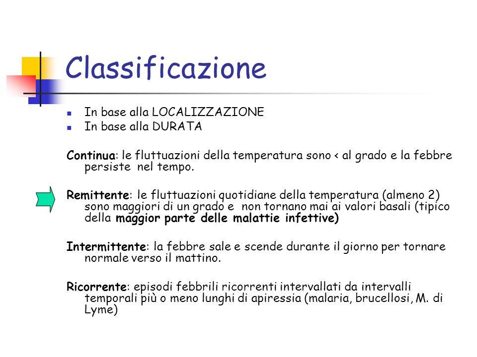 Classificazione In base alla LOCALIZZAZIONE In base alla DURATA Continua: le fluttuazioni della temperatura sono < al grado e la febbre persiste nel t