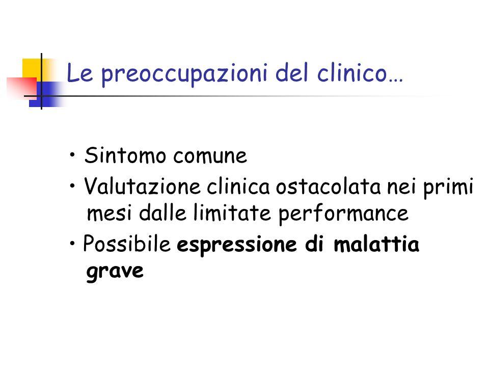 Le preoccupazioni del clinico… Sintomo comune Valutazione clinica ostacolata nei primi mesi dalle limitate performance Possibile espressione di malatt