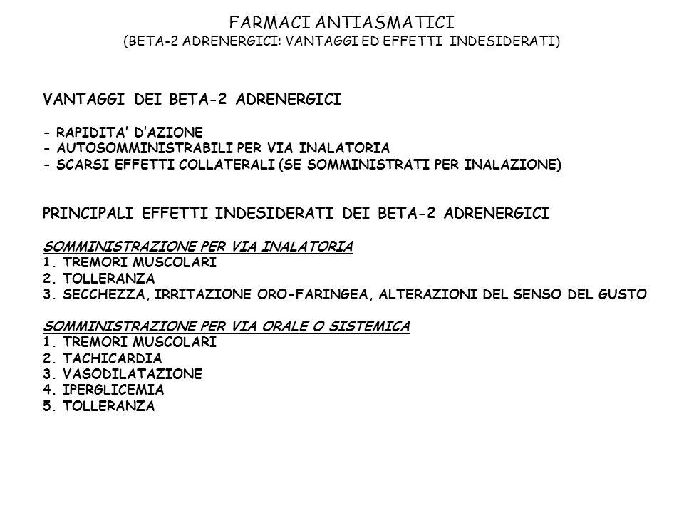 FARMACI ANTIASMATICI (BETA-2 ADRENERGICI: VANTAGGI ED EFFETTI INDESIDERATI) VANTAGGI DEI BETA-2 ADRENERGICI - RAPIDITA DAZIONE - AUTOSOMMINISTRABILI P