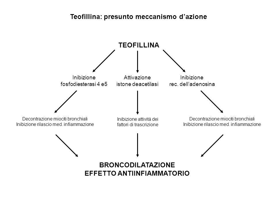 TEOFILLINA Inibizione fosfodiesterasi 4 e5 Inibizione rec. delladenosina Attivazione istone deacetilasi Decontrazione miociti bronchiali Inibizione ri