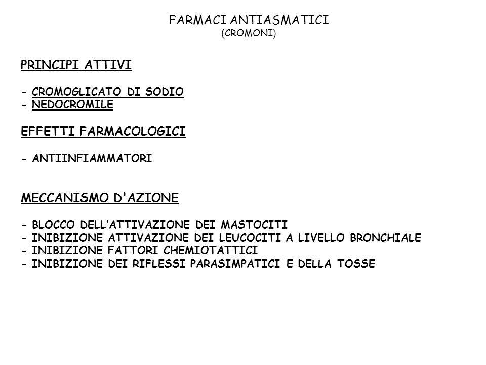 FARMACI ANTIASMATICI (CROMONI ) PRINCIPI ATTIVI - CROMOGLICATO DI SODIO - NEDOCROMILE EFFETTI FARMACOLOGICI - ANTIINFIAMMATORI MECCANISMO D'AZIONE - B