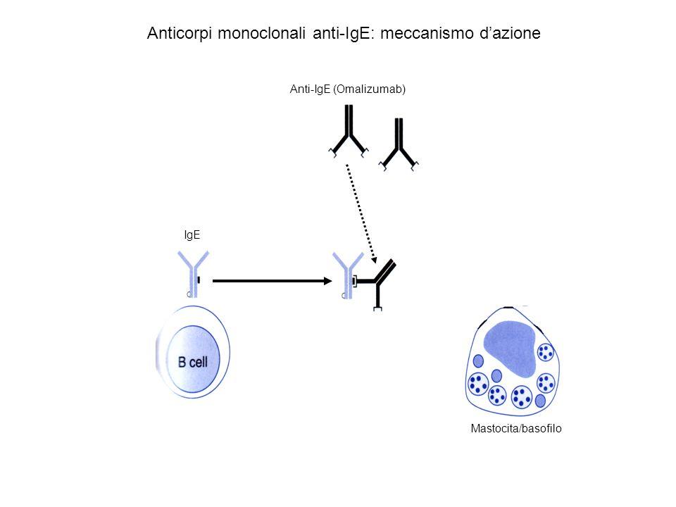 Anti-IgE (Omalizumab) Mastocita/basofilo IgE Anticorpi monoclonali anti-IgE: meccanismo dazione
