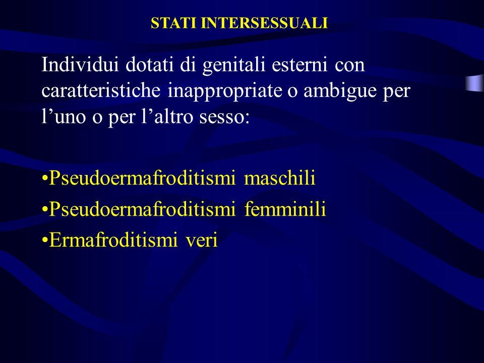 Individui dotati di genitali esterni con caratteristiche inappropriate o ambigue per luno o per laltro sesso: Pseudoermafroditismi maschili Pseudoerma