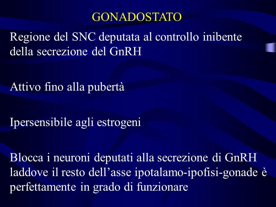 Regione del SNC deputata al controllo inibente della secrezione del GnRH Attivo fino alla pubertà Ipersensibile agli estrogeni Blocca i neuroni deputa