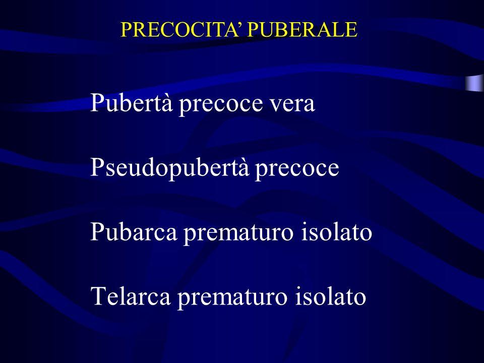 Pubertà precoce vera Pseudopubertà precoce Pubarca prematuro isolato Telarca prematuro isolato PRECOCITA PUBERALE