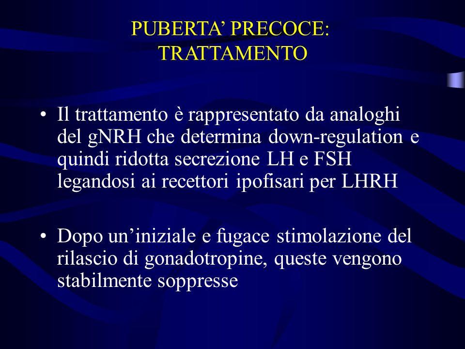 Il trattamento è rappresentato da analoghi del gNRH che determina down-regulation e quindi ridotta secrezione LH e FSH legandosi ai recettori ipofisar