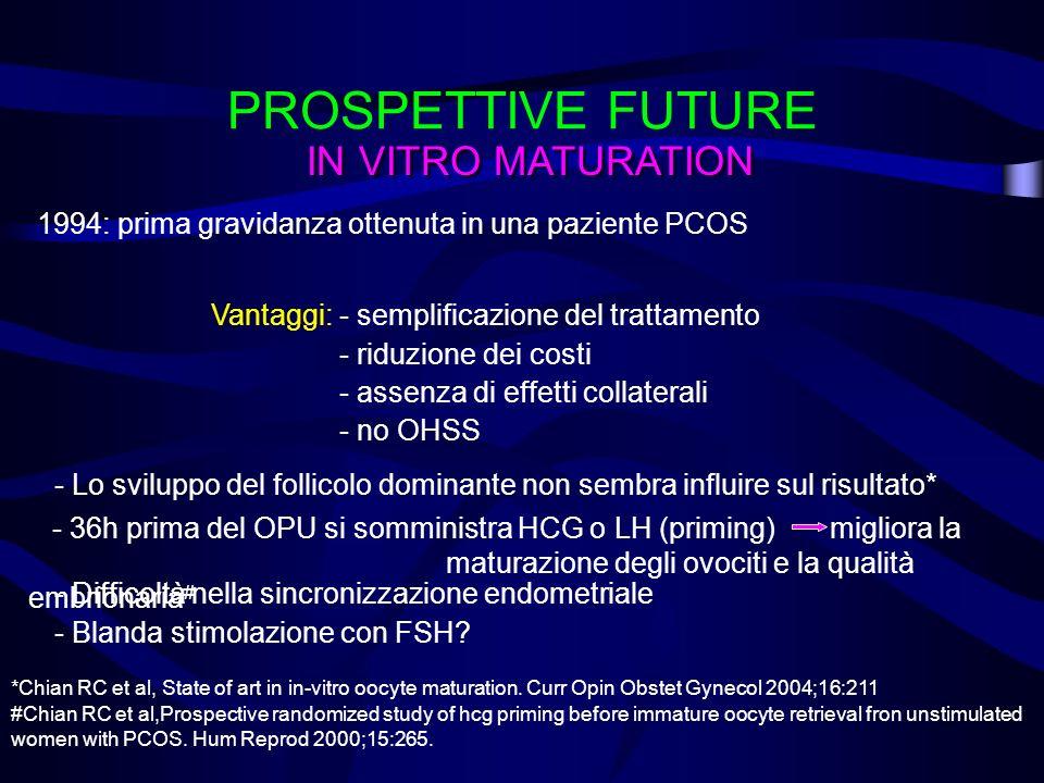 PROSPETTIVE FUTURE IN VITRO MATURATION 1994: prima gravidanza ottenuta in una paziente PCOS Vantaggi: - semplificazione del trattamento - riduzione de