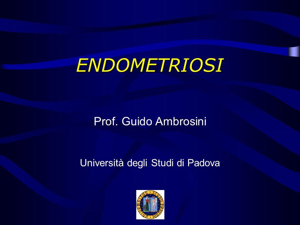 Patogenesi degli endometriomi Mucosa endometriale che riveste le pareti Accumulo di materiale desquamato Reazione fibrosclerotica del parenchima adiacente