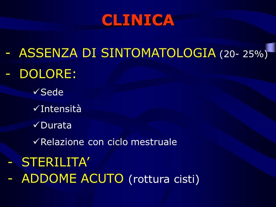 CLINICA -ASSENZA DI SINTOMATOLOGIA (20- 25%) - DOLORE: Sede Intensità Durata Relazione con ciclo mestruale - STERILITA - ADDOME ACUTO (rottura cisti)