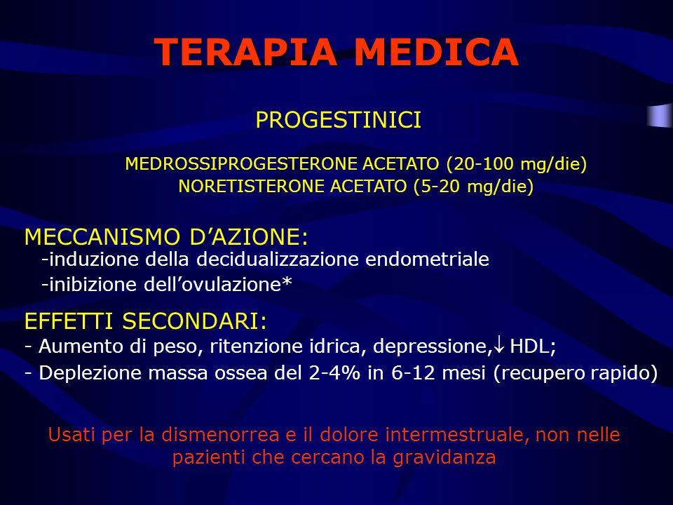 TERAPIA MEDICA PROGESTINICI MECCANISMO DAZIONE: -induzione della decidualizzazione endometriale -inibizione dellovulazione* EFFETTI SECONDARI: MEDROSS