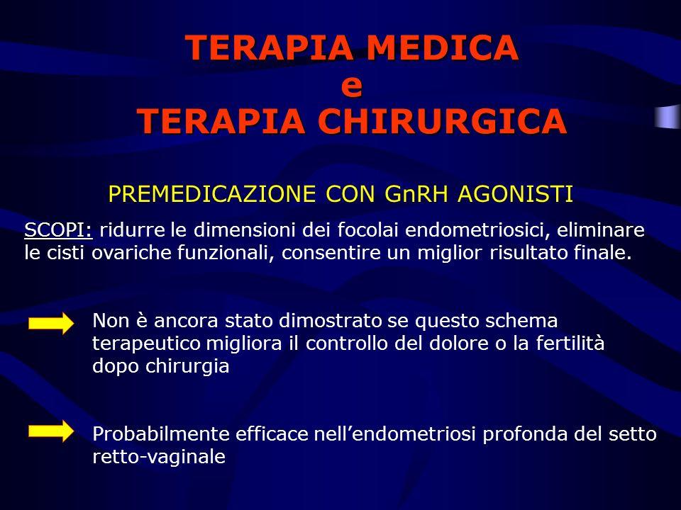 TERAPIA MEDICA e TERAPIA CHIRURGICA PREMEDICAZIONE CON GnRH AGONISTI SCOPI: SCOPI: ridurre le dimensioni dei focolai endometriosici, eliminare le cist