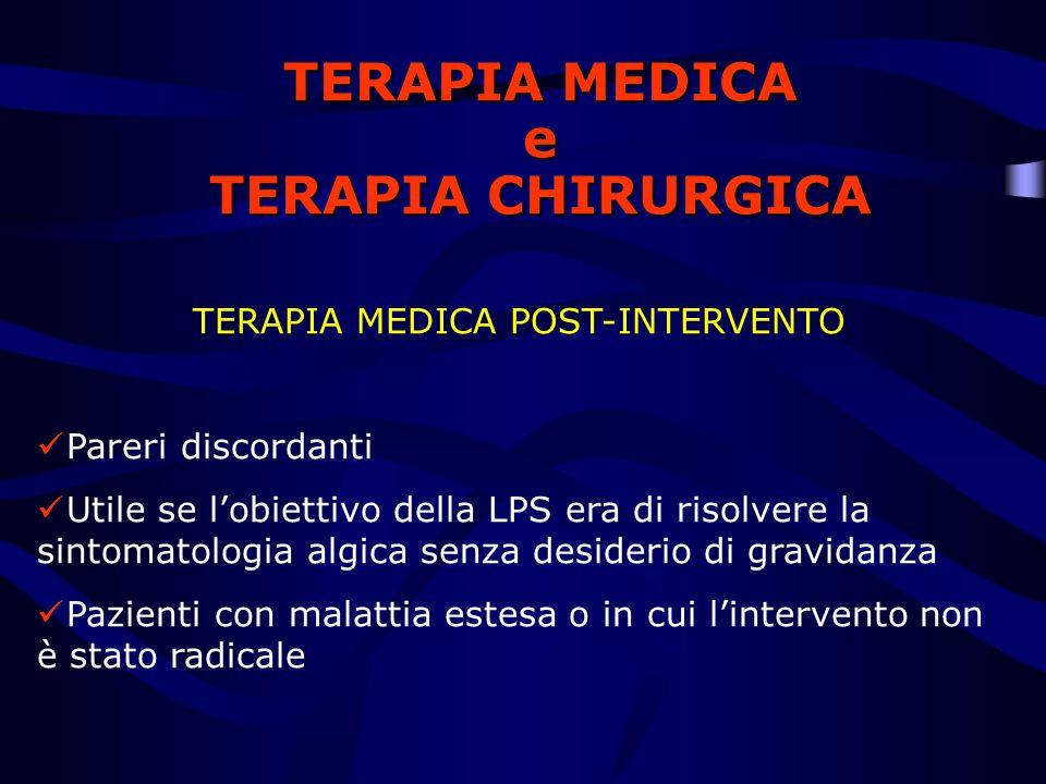 TERAPIA MEDICA e TERAPIA CHIRURGICA TERAPIA MEDICA POST-INTERVENTO Pareri discordanti Utile se lobiettivo della LPS era di risolvere la sintomatologia